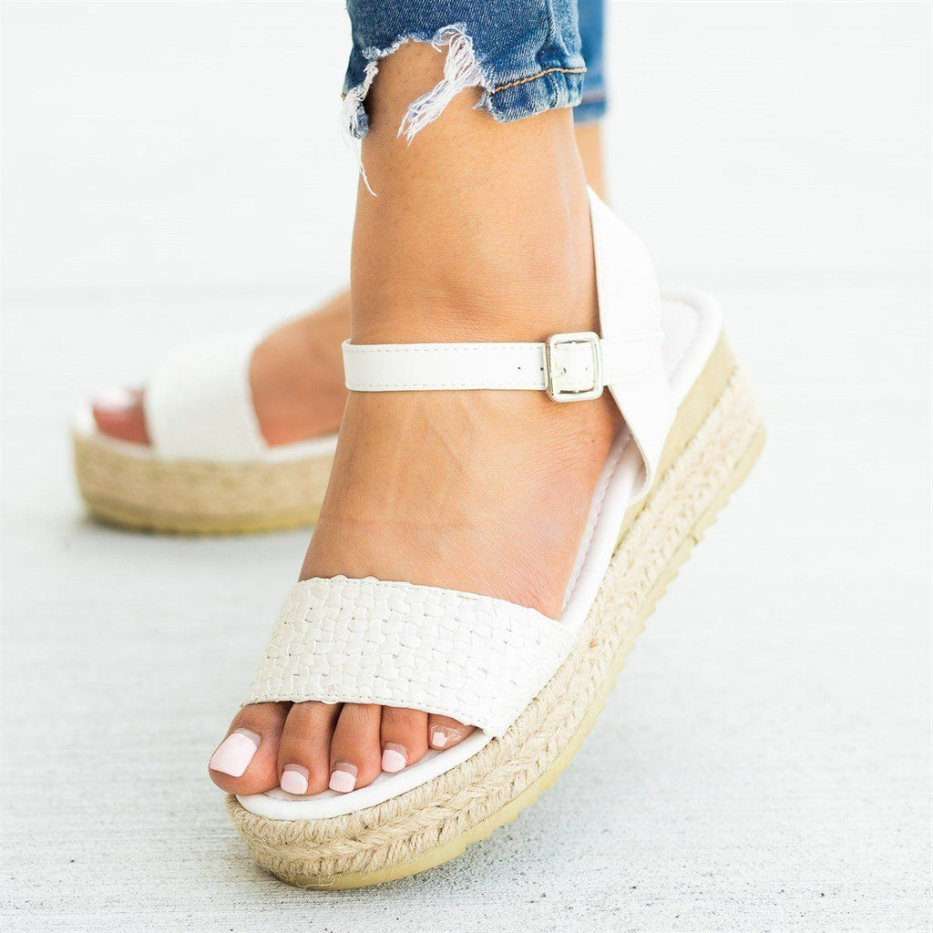 Womens Basketweave Espadrille Flatform Sandals - Nature Breeze