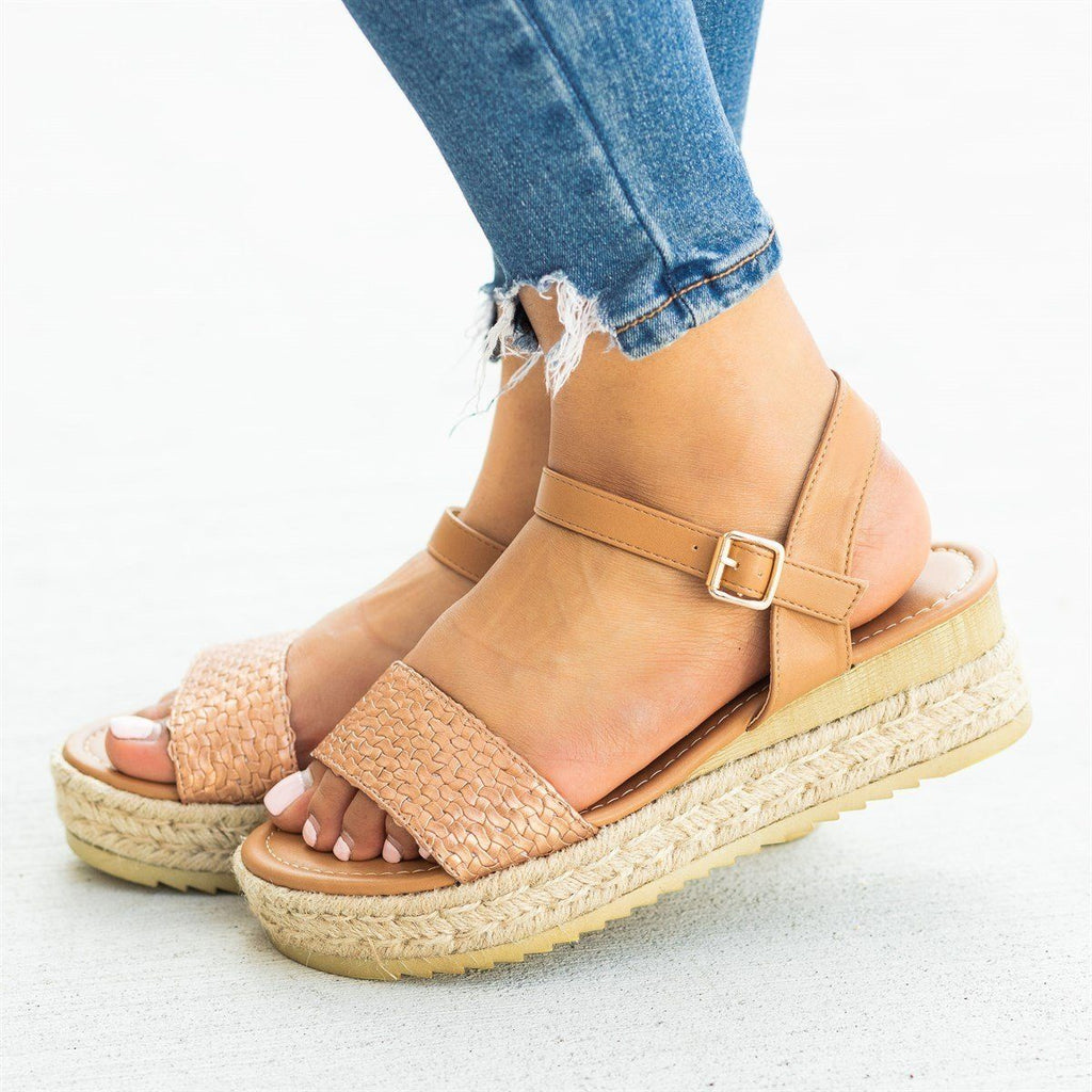 Womens Basketweave Espadrille Flatform Sandals - Nature Breeze - Tan / 5