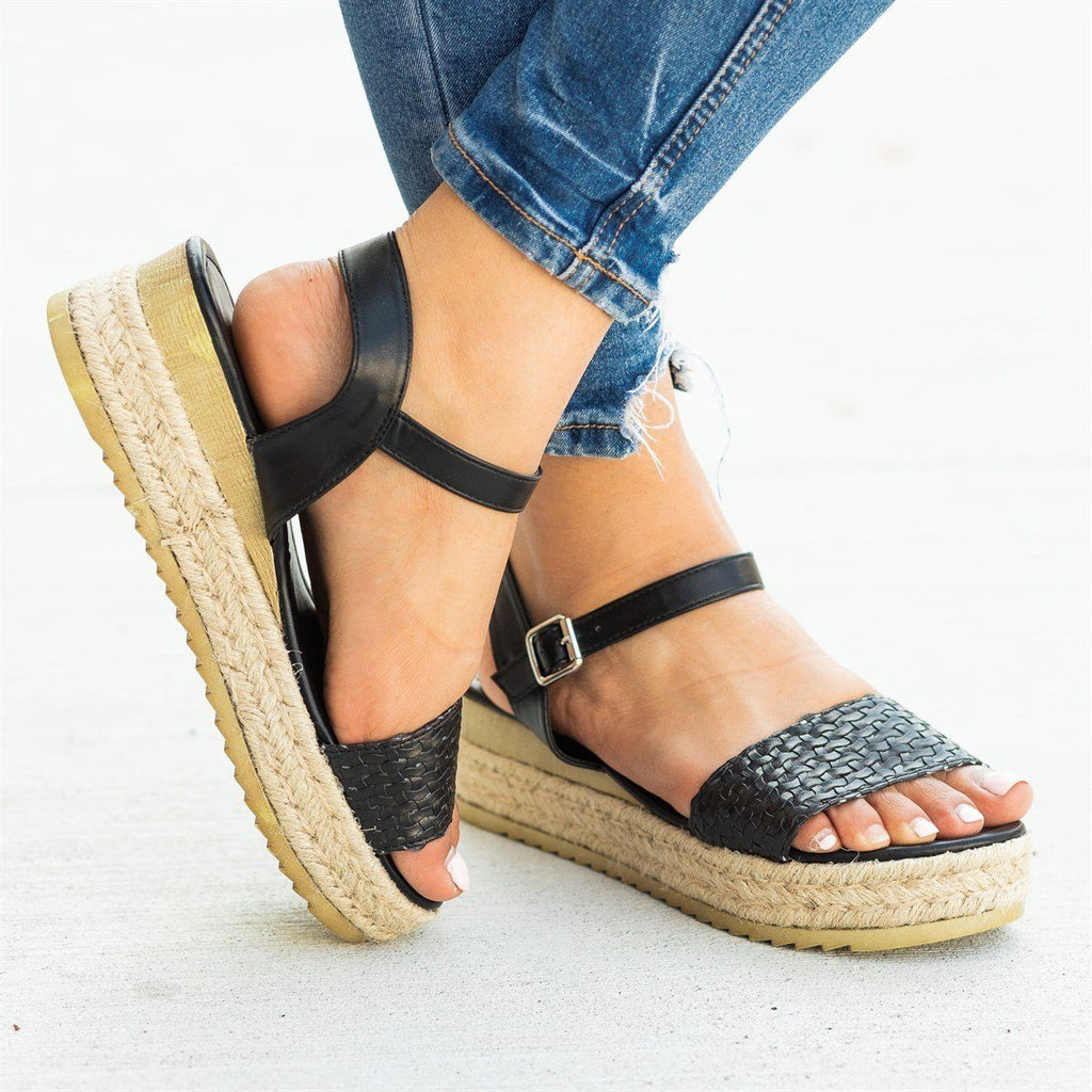 Womens Basketweave Espadrille Flatform Sandals - Nature Breeze - Black / 5