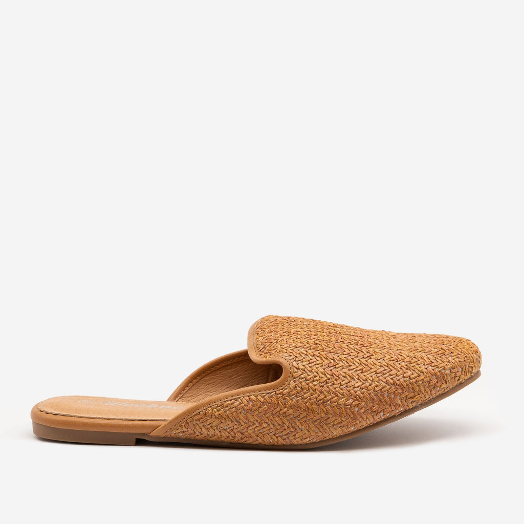 Women's Basketweave Slip On Mules - Weeboo - Tan / 5