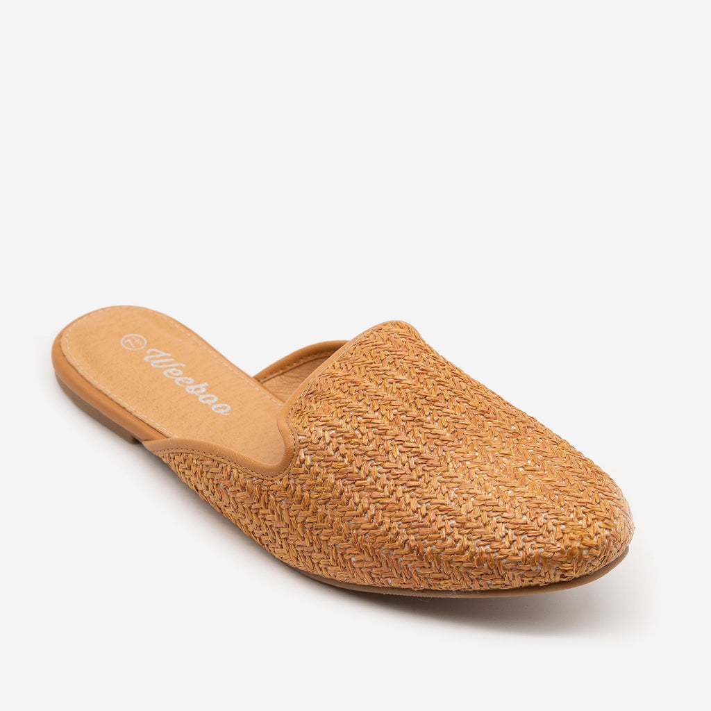Women's Basketweave Slip On Mules - Weeboo