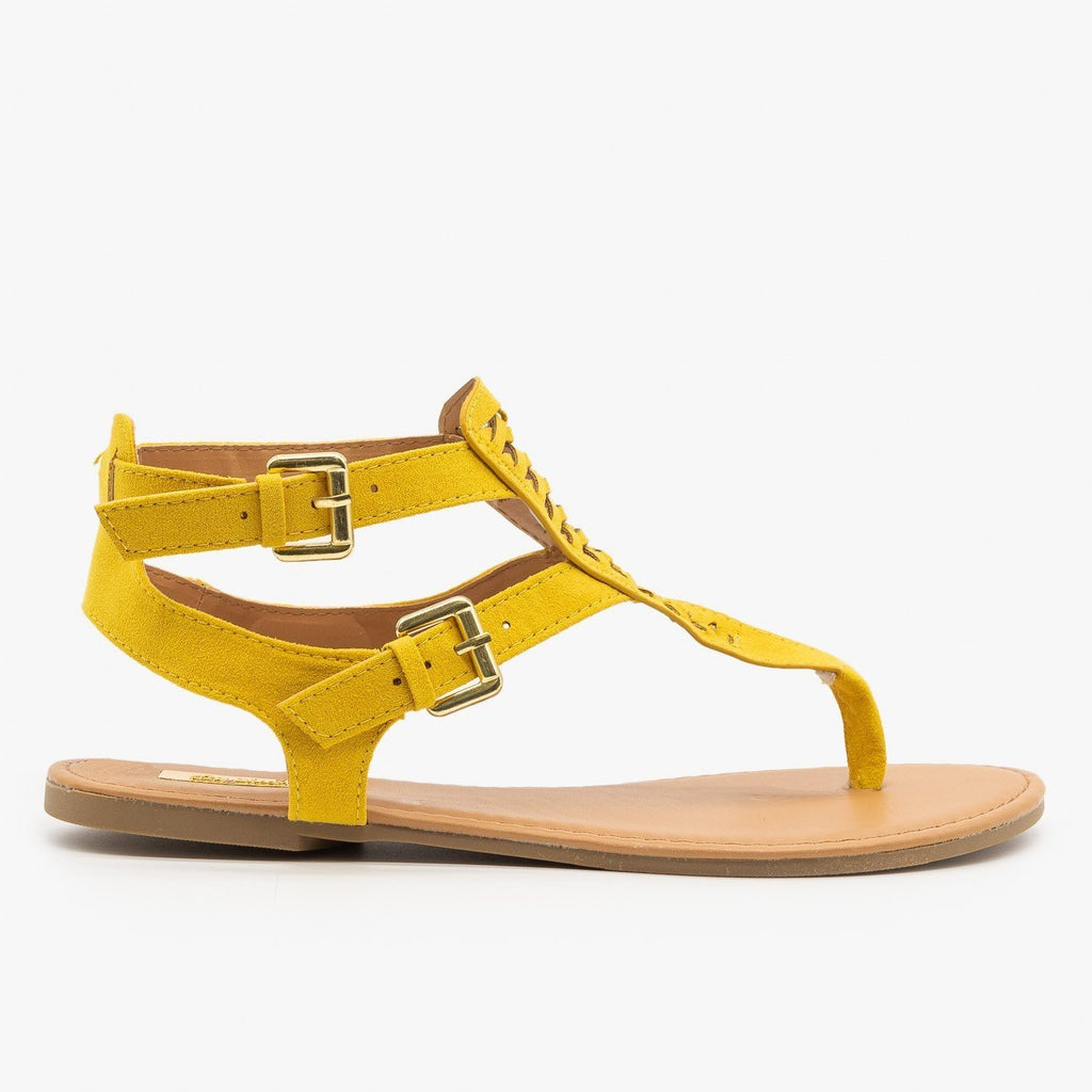 Womens Basketweave Thong-Toed Fashion Sandals - Qupid Shoes - Yellow / 5