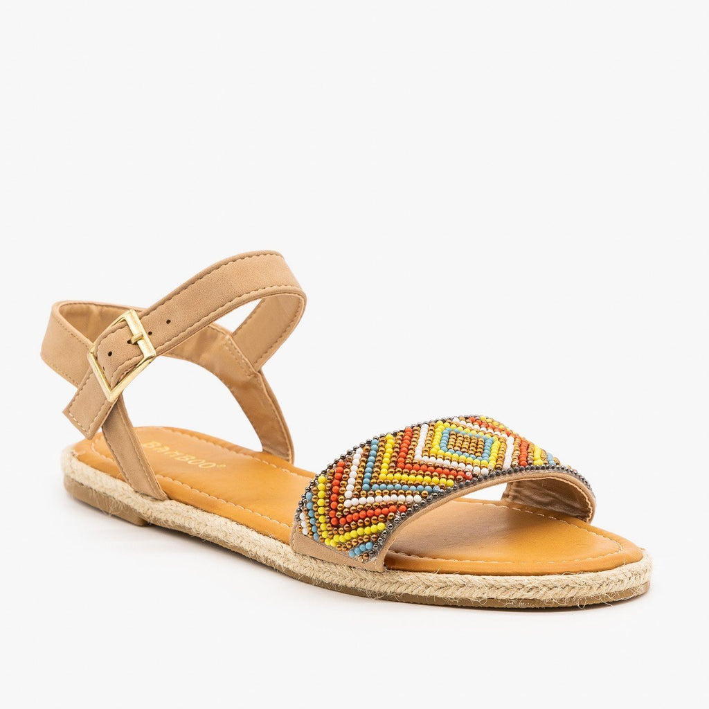 Womens Beaded Espadrille Sandals - Bamboo Shoes - Natural / 5