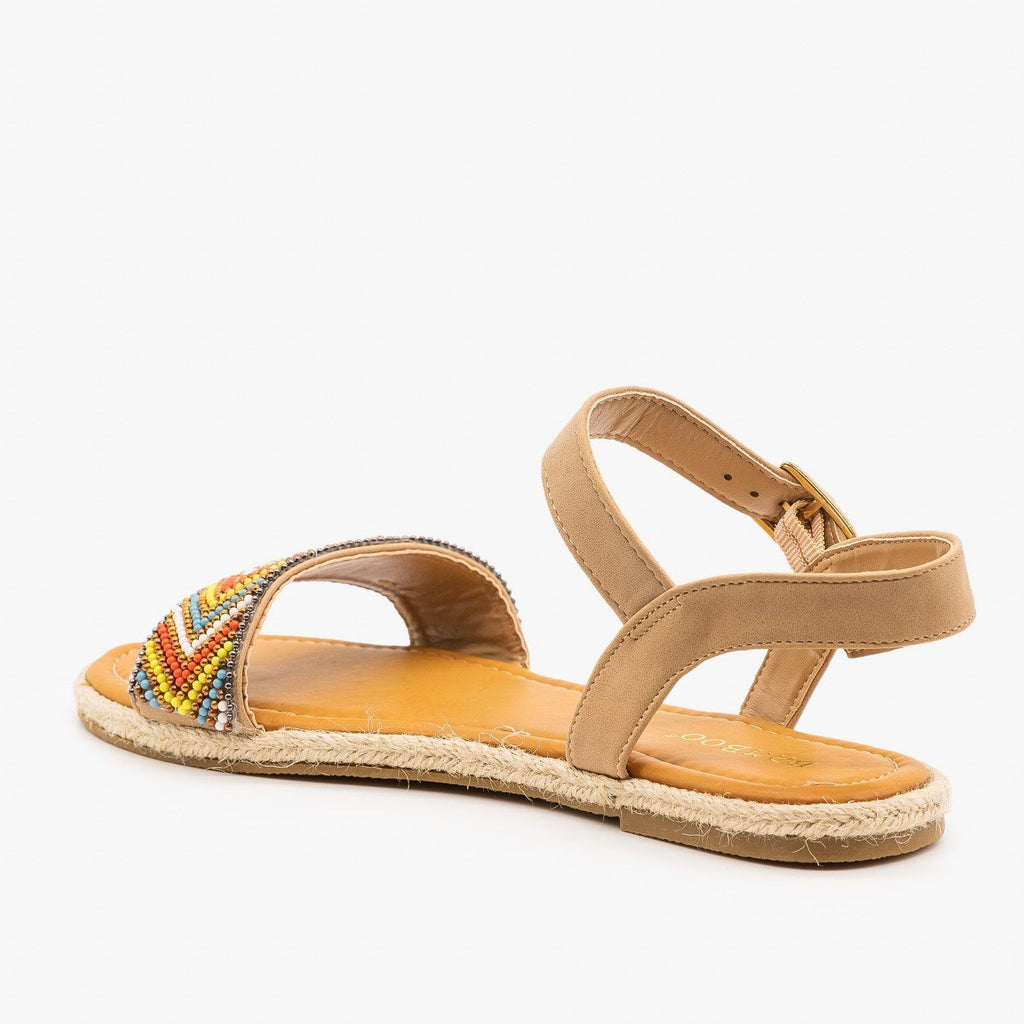 Womens Beaded Espadrille Sandals - Bamboo Shoes