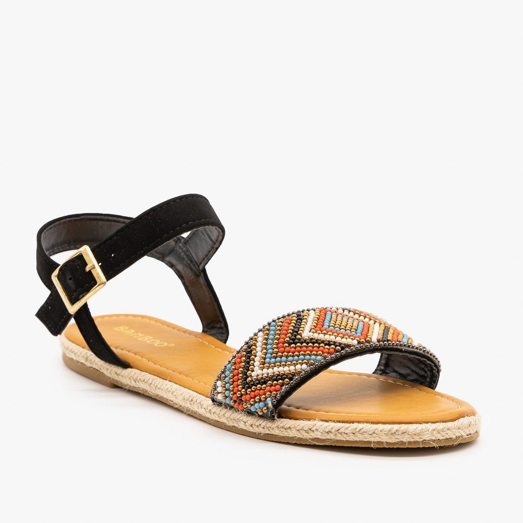 Womens Beaded Espadrille Sandals - Bamboo Shoes - Black / 5