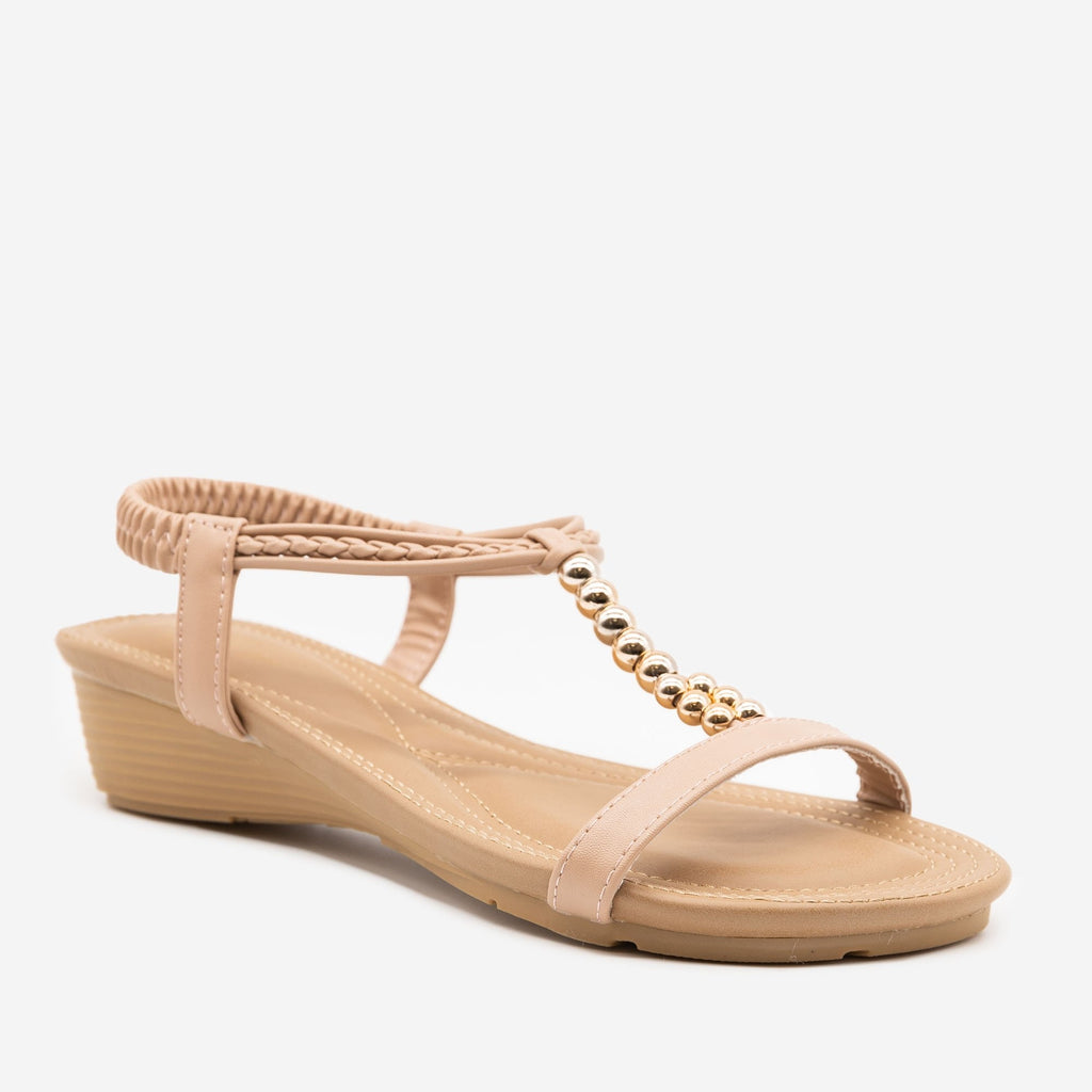 Women's Beaded Strap Sandals - Mixx Shoes - Nude / 5