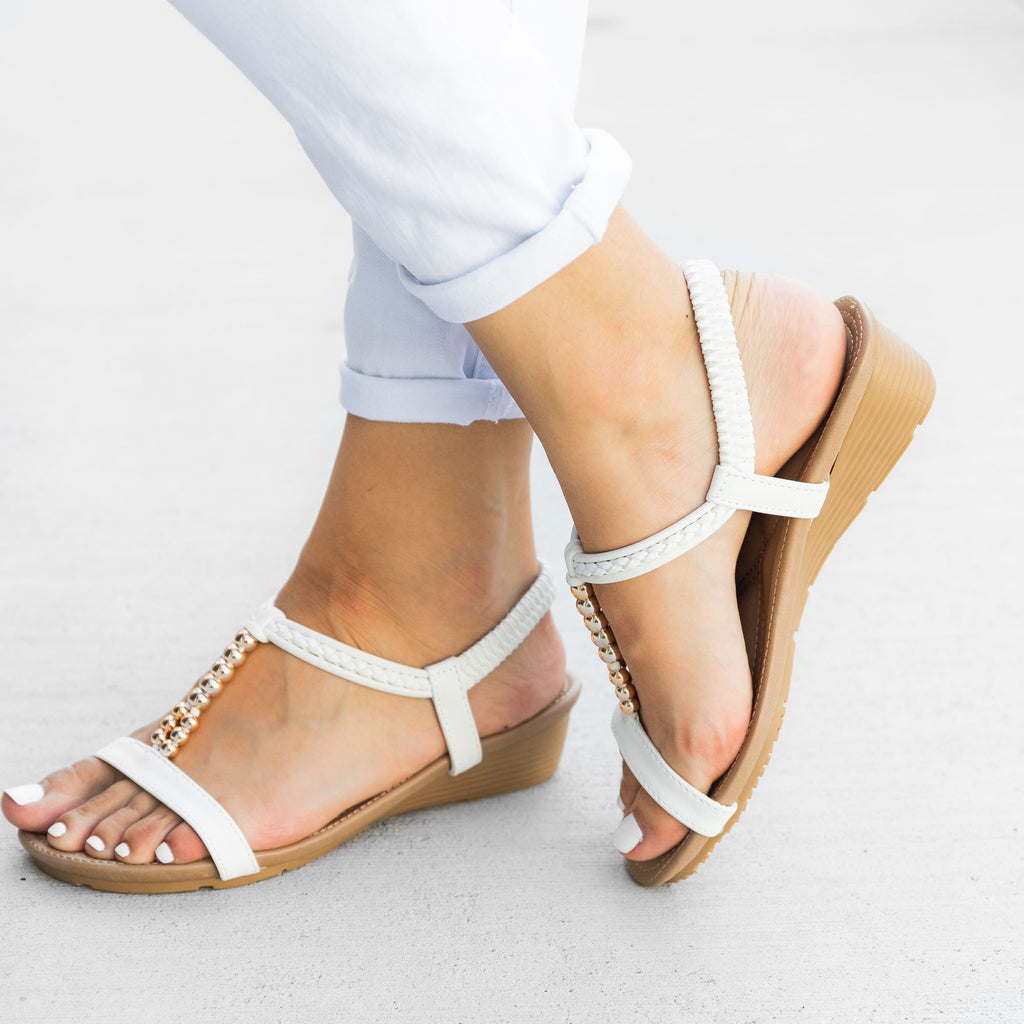 Women's Beaded Strap Sandals - Mixx Shoes