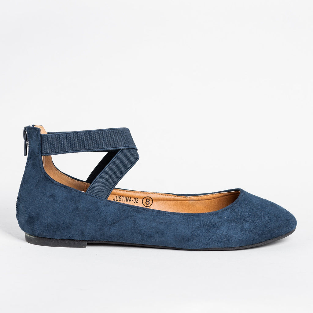 Womens Beautiful Ballet-Inspired Flats - Refresh - Navy / 5
