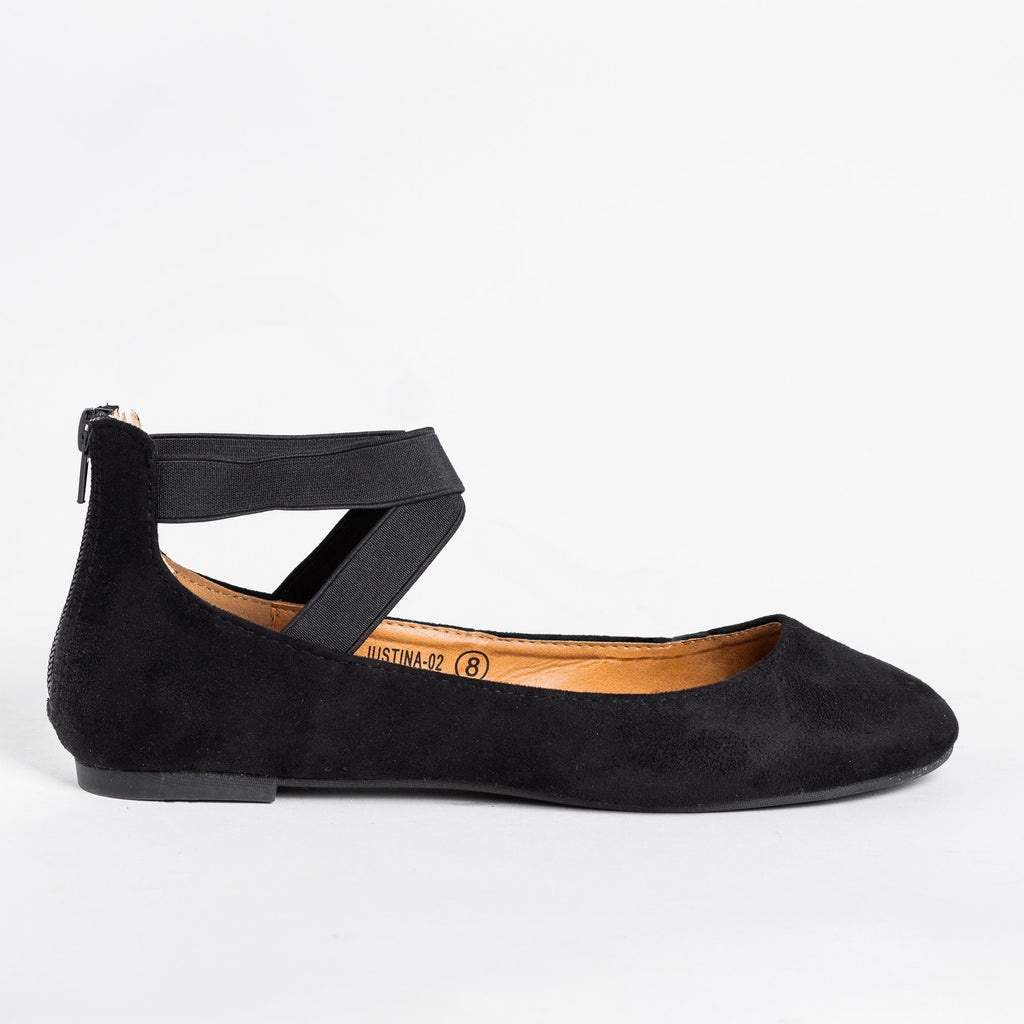 Womens Beautiful Ballet-Inspired Flats - Refresh - Black / 5
