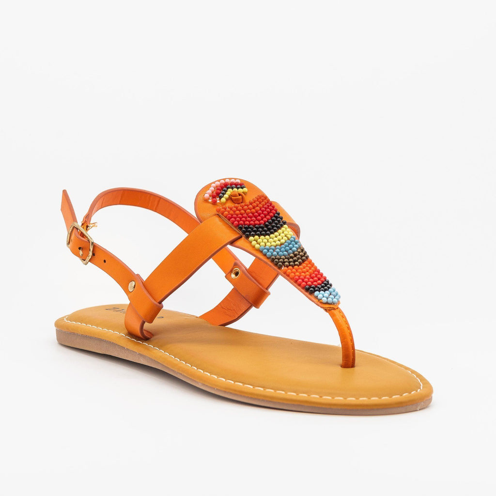 Womens Beautiful Beaded Thong Sandals - Bamboo Shoes - Orange / 5
