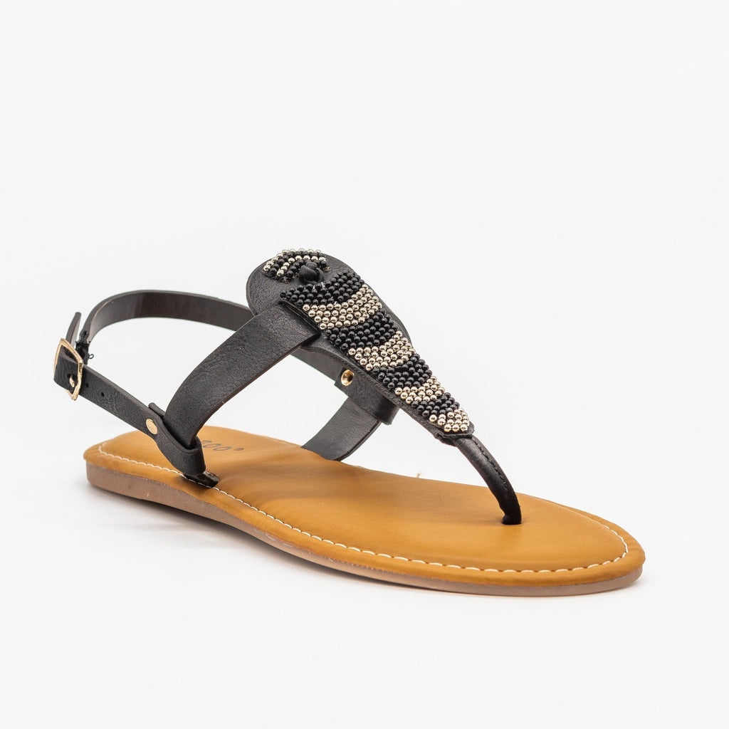 Womens Beautiful Beaded Thong Sandals - Bamboo Shoes - Black / 5