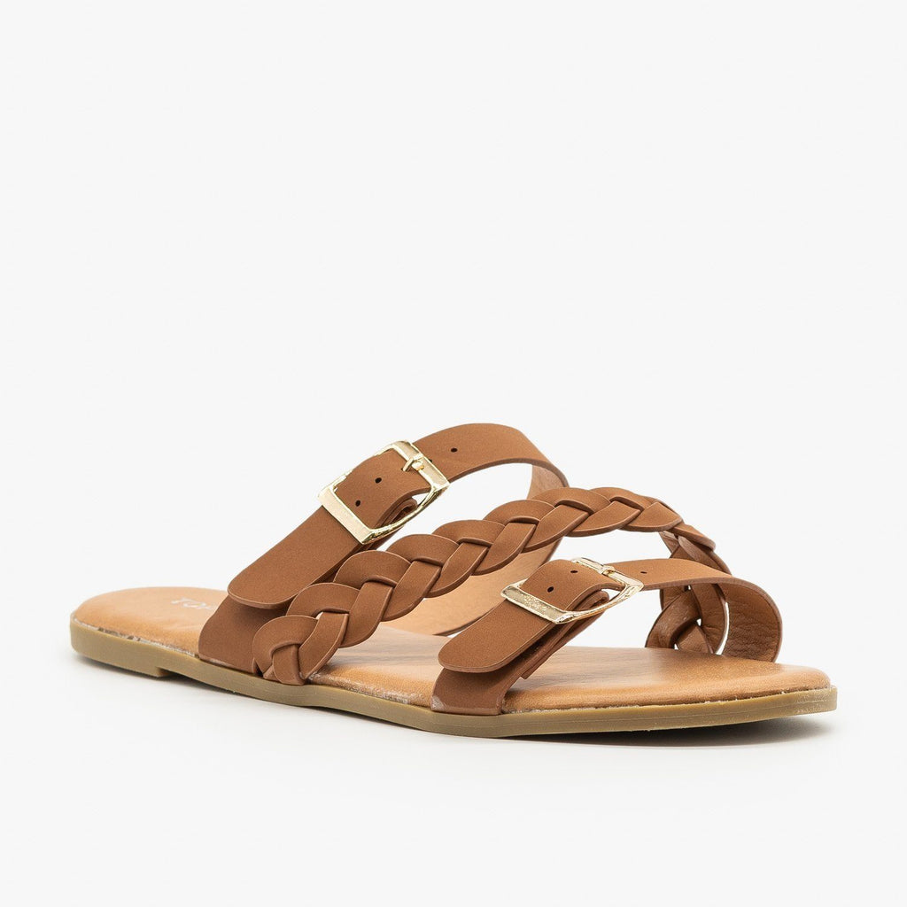 Womens Beautiful Belt Buckle Braided Sandals - Top Moda