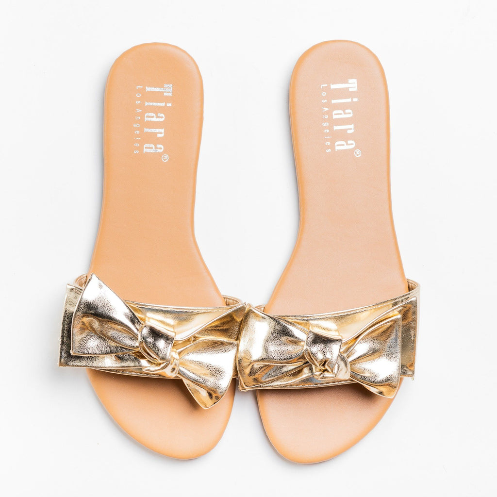 Womens Beautiful Bow Tie Sandals - Tiara Shoes - Light Gold / 5