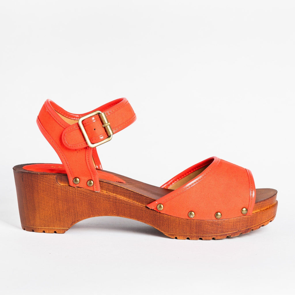 Womens Beautiful Classic Clogs - Qupid Shoes - Blood Orange / 5