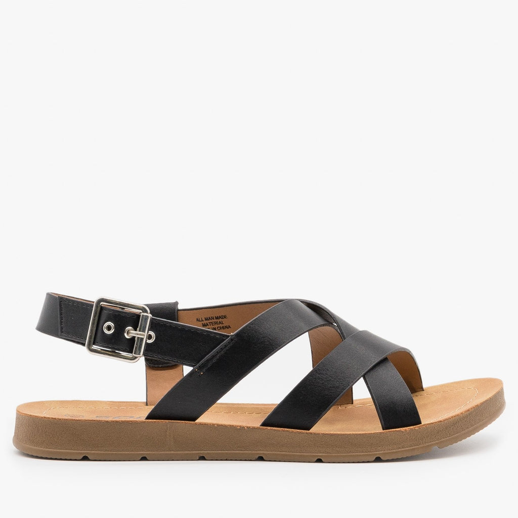 Women's Beautiful Criss Cross Slingback Sandals - Soda Shoes - Black / 5