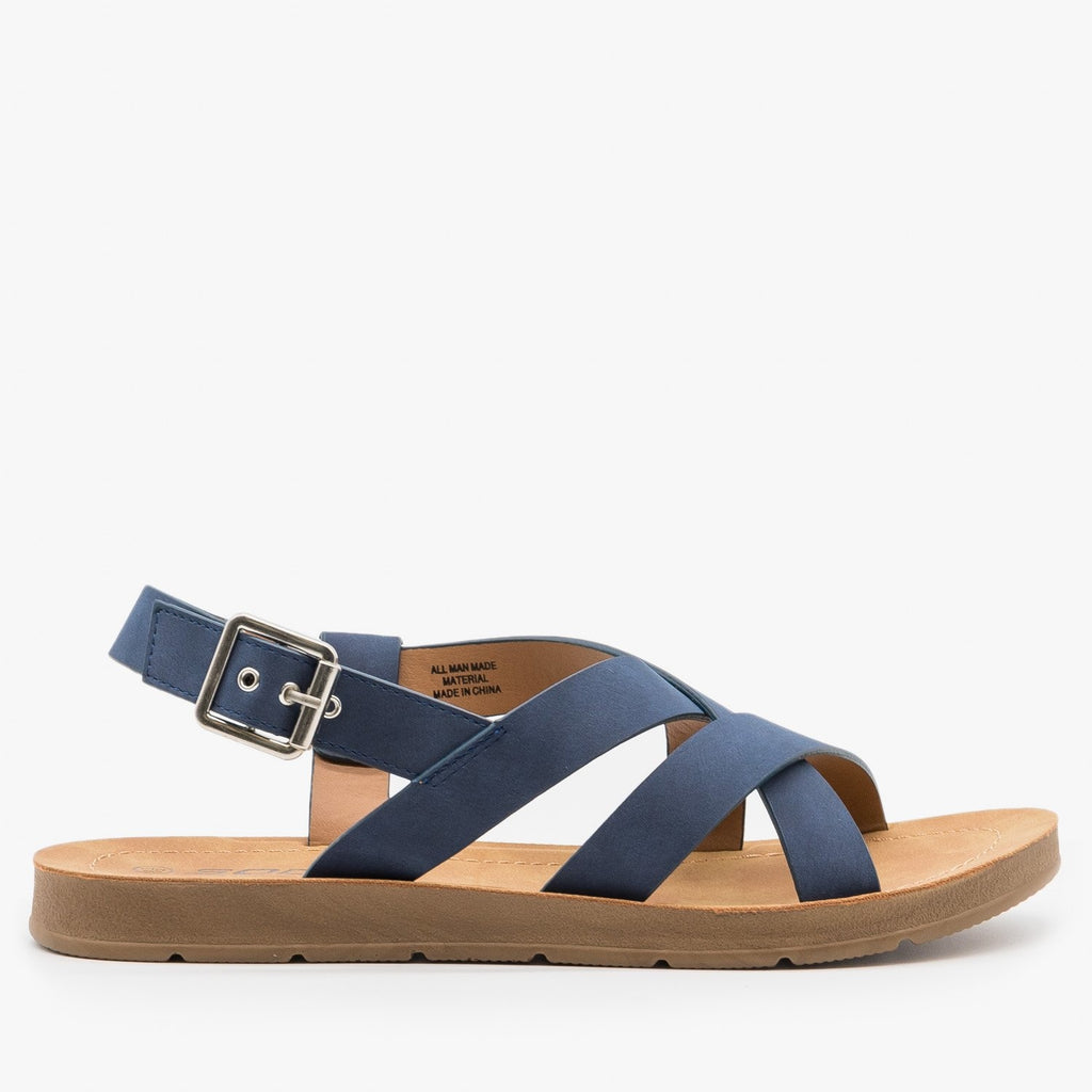 Women's Beautiful Criss Cross Slingback Sandals - Soda Shoes - Navy / 5