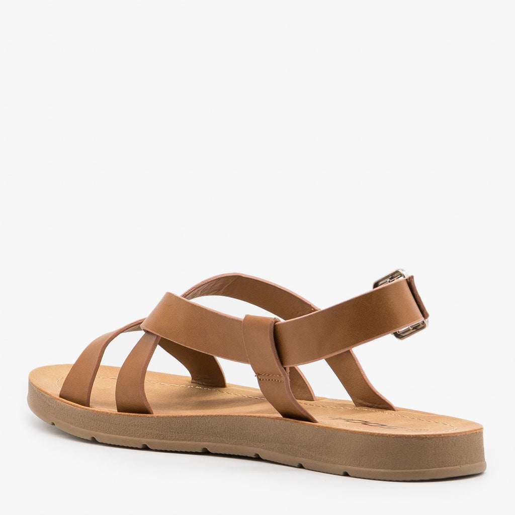 Women's Beautiful Criss Cross Slingback Sandals - Soda Shoes