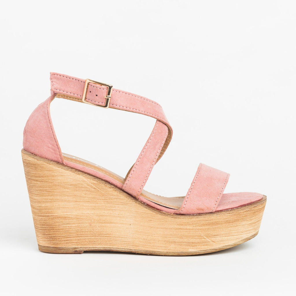 Womens Beautiful Criss Cross Wooden Platform Wedges - Refresh - Mauve / 5