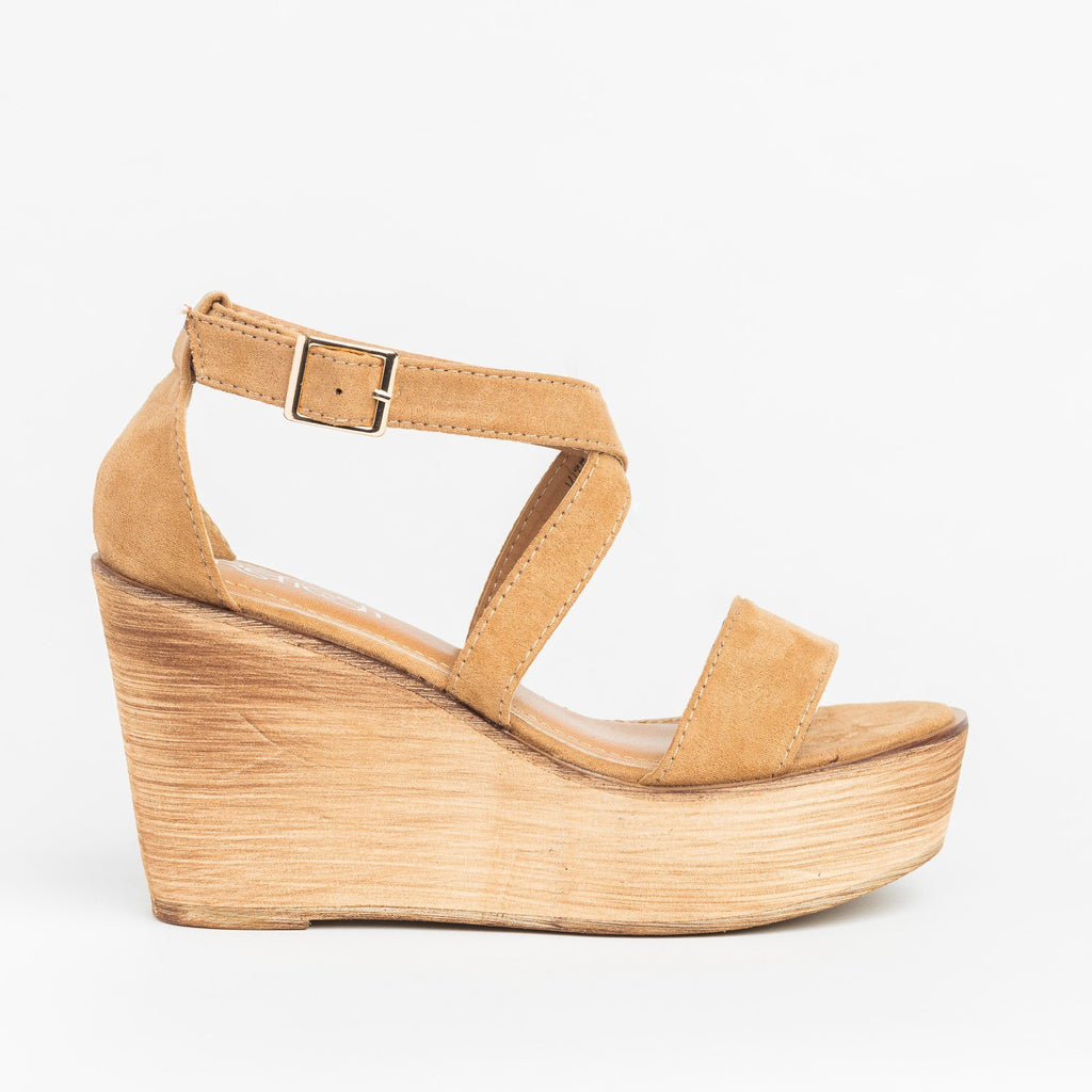 Womens Beautiful Criss Cross Wooden Platform Wedges - Refresh - Beige / 5