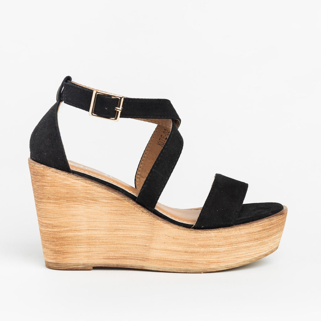 Womens Beautiful Criss Cross Wooden Platform Wedges - Refresh - Black / 5