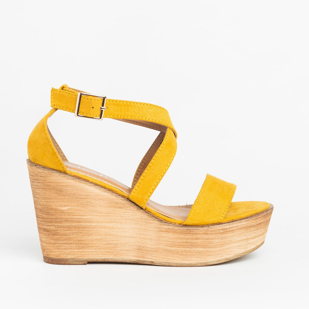 Womens Beautiful Criss Cross Wooden Platform Wedges - Refresh - Yellow / 5