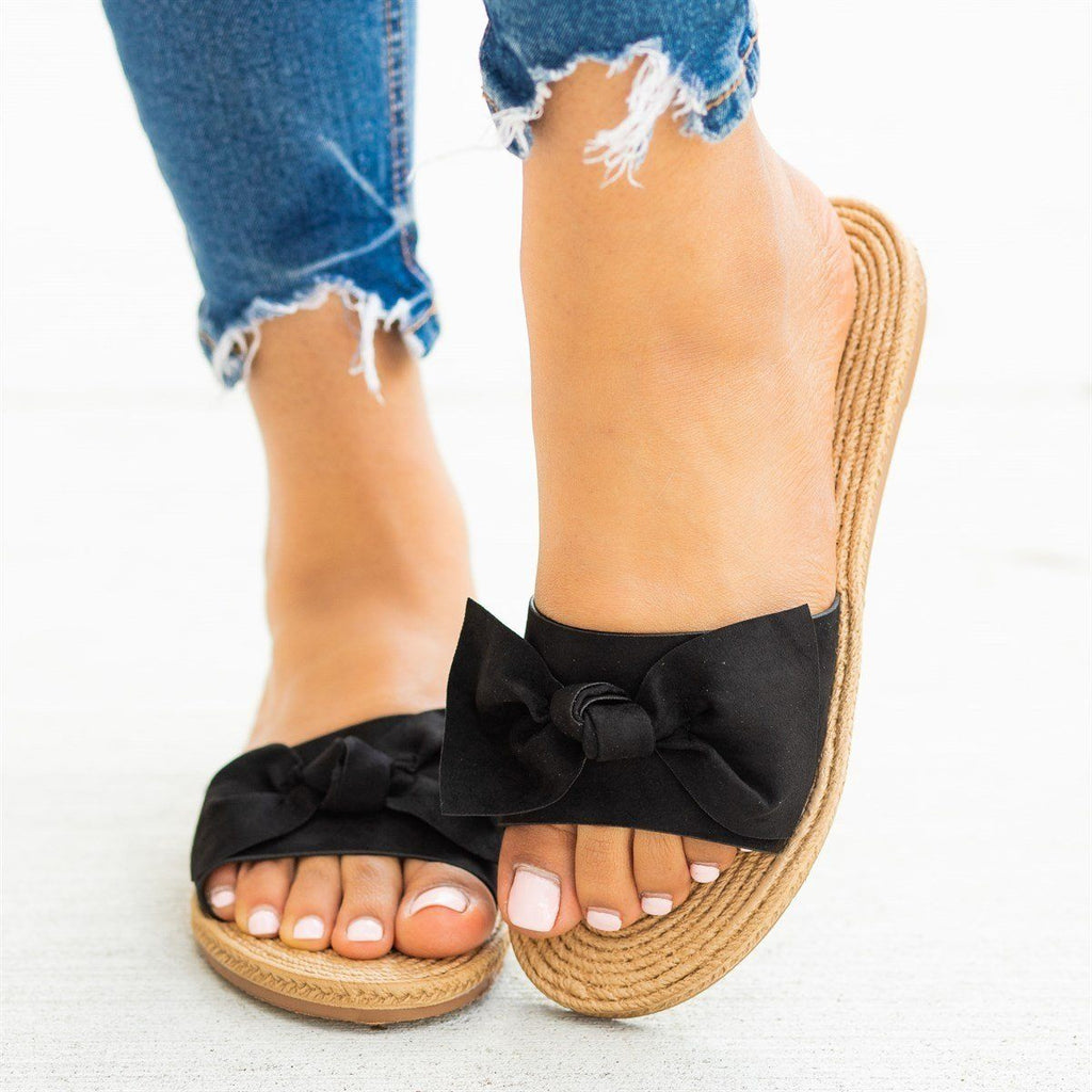 Womens Beautiful Espadrille Bow Tie Sandals - Bamboo Shoes