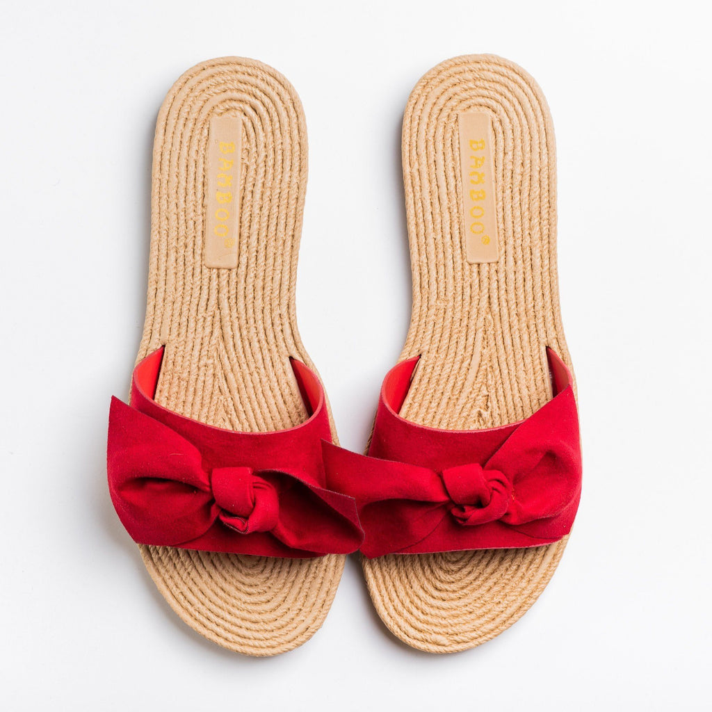Womens Beautiful Espadrille Bow Tie Sandals - Bamboo Shoes - Red / 5