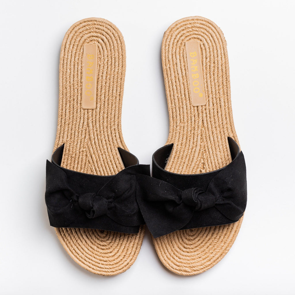 Womens Beautiful Espadrille Bow Tie Sandals - Bamboo Shoes - Black / 5