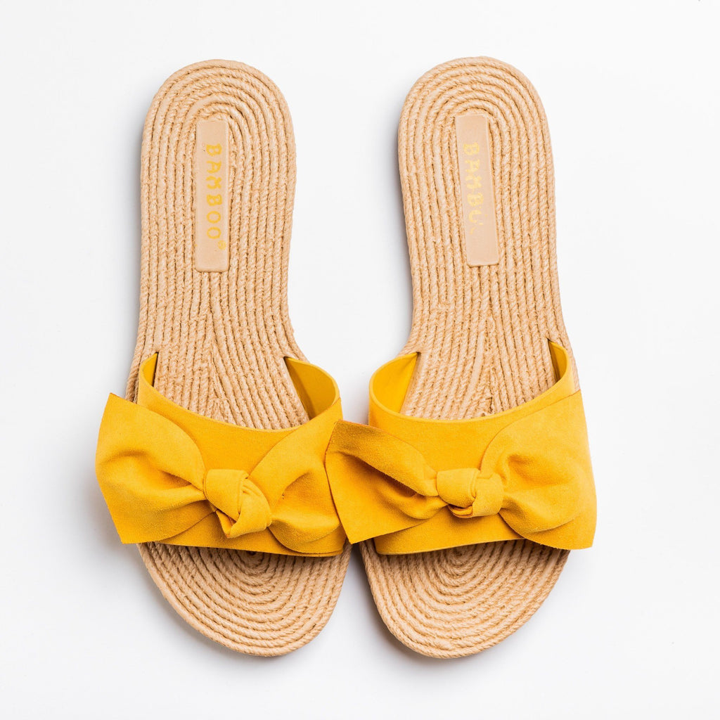 Womens Beautiful Espadrille Bow Tie Sandals - Bamboo Shoes - Marigold / 5