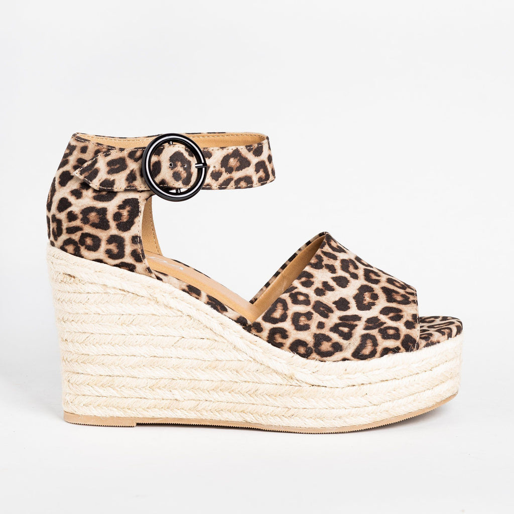 Womens Beautiful Espadrille Fashion Wedges - Soda Shoes - Oatmeal Cheetah / 5