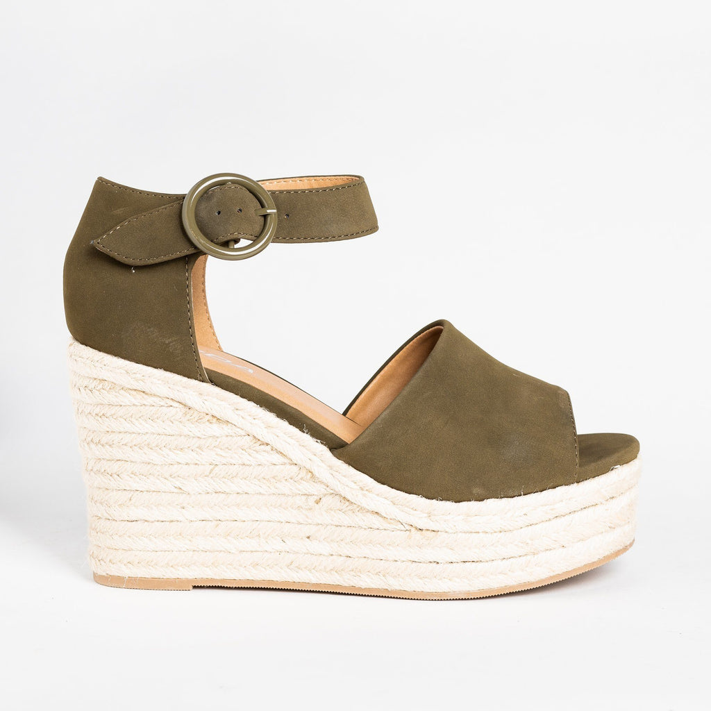 Womens Beautiful Espadrille Fashion Wedges - Soda Shoes - Khaki / 5