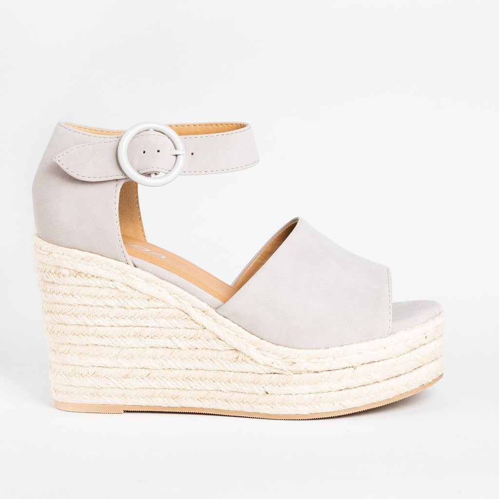 Womens Beautiful Espadrille Fashion Wedges - Soda Shoes - Light Gray / 5