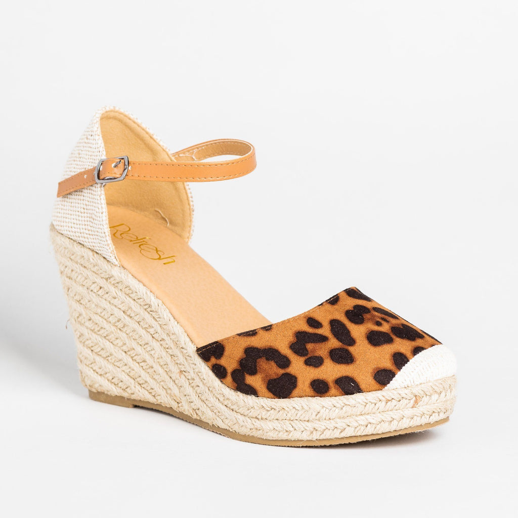 Womens Beautiful Essential Espadrille Wedges - Refresh - Leopard / 5