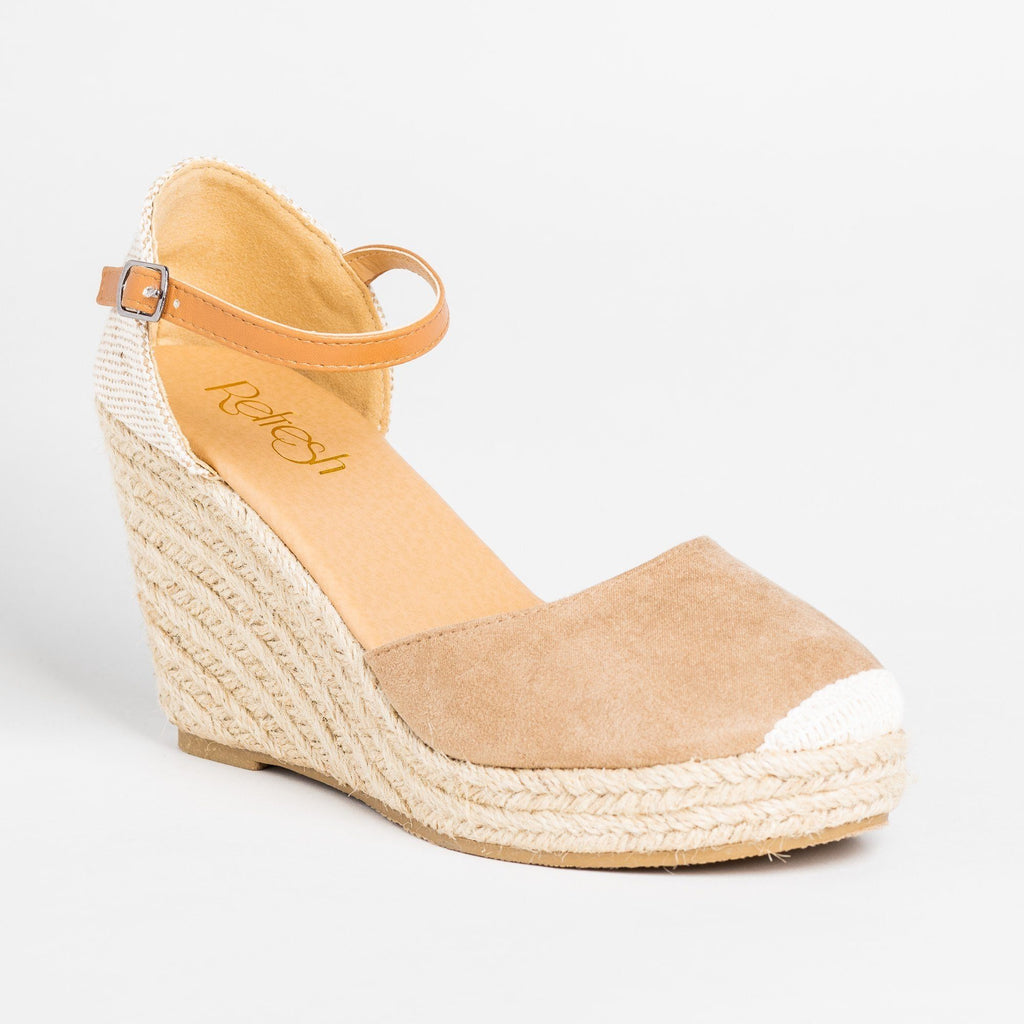 Womens Beautiful Essential Espadrille Wedges - Refresh - Taupe / 5