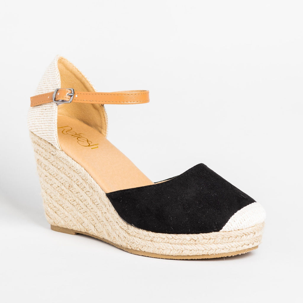 Womens Beautiful Essential Espadrille Wedges - Refresh - Black / 5