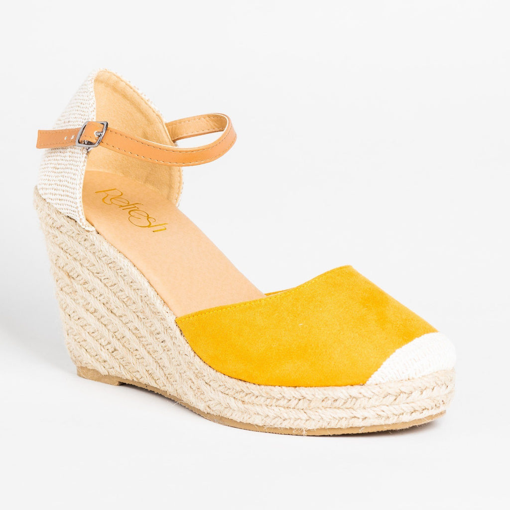Womens Beautiful Essential Espadrille Wedges - Refresh - Mustard / 5