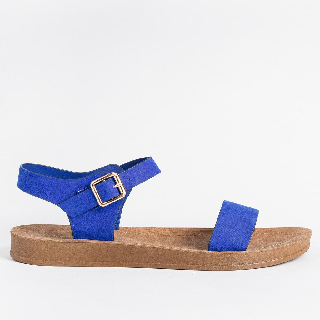 Womens Beautiful Everyday Sandals - Bamboo Shoes - Electric Blue / 5
