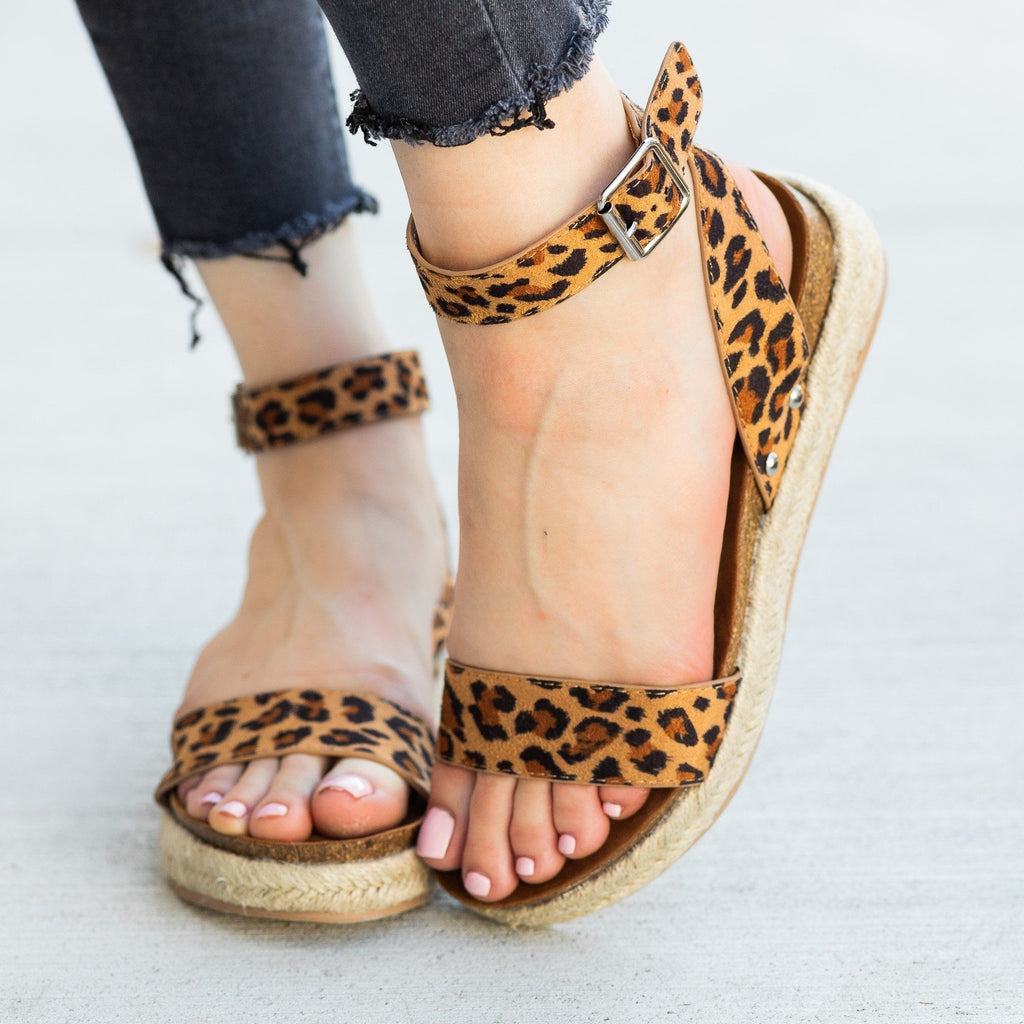 Womens Beautiful Fashion Espadrille Sandal Wedges - AMS Shoes - Leopard / 5