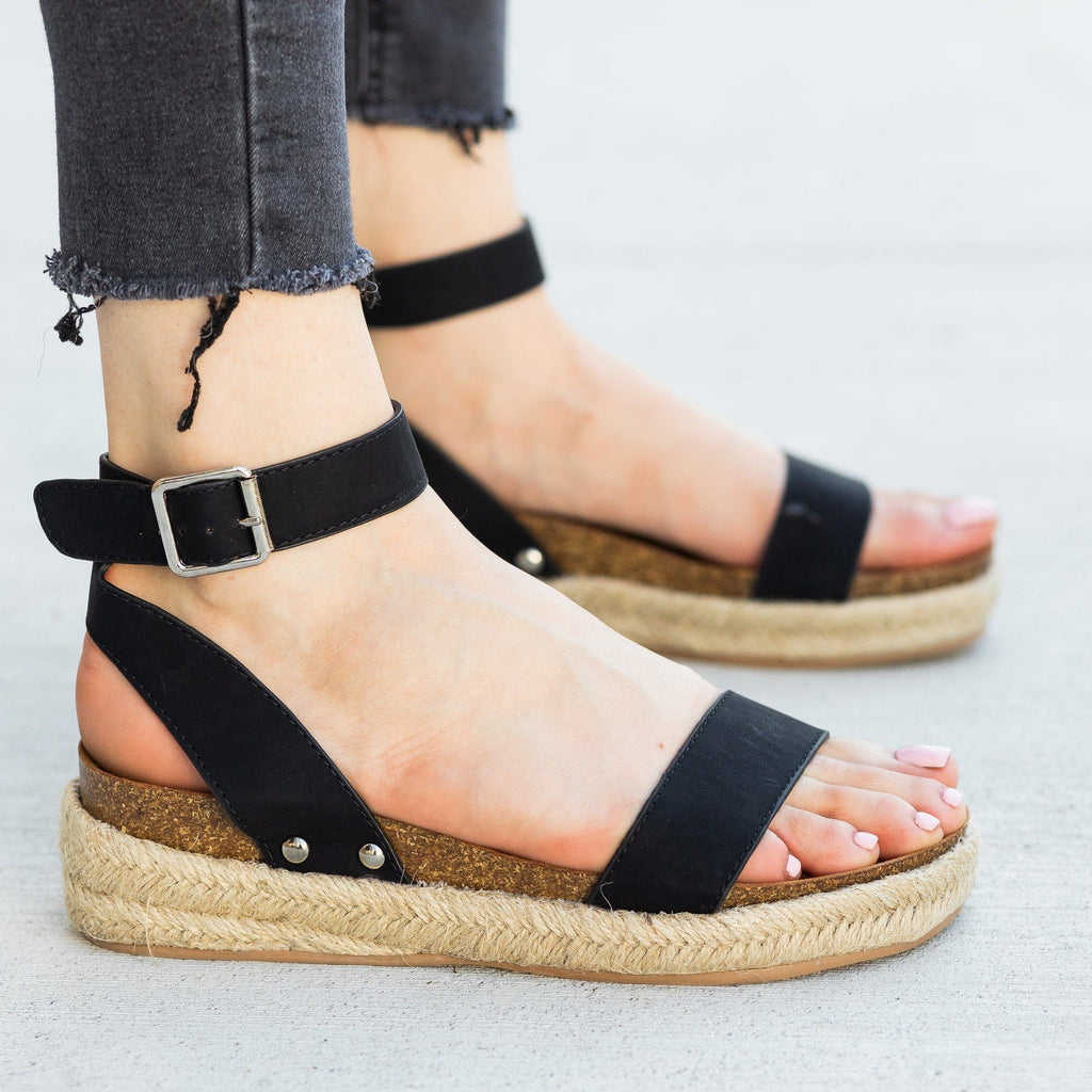 Womens Beautiful Fashion Espadrille Sandal Wedges - AMS Shoes - Black / 5