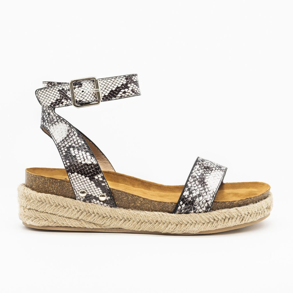 Womens Beautiful Fashion Espadrille Sandal Wedges - AMS Shoes - Snake / 5