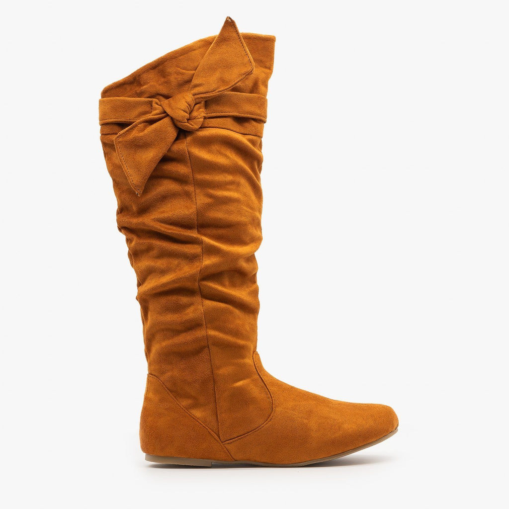 Womens Beautiful Knotted Boots - Wild Diva Shoes - Whiskey / 5