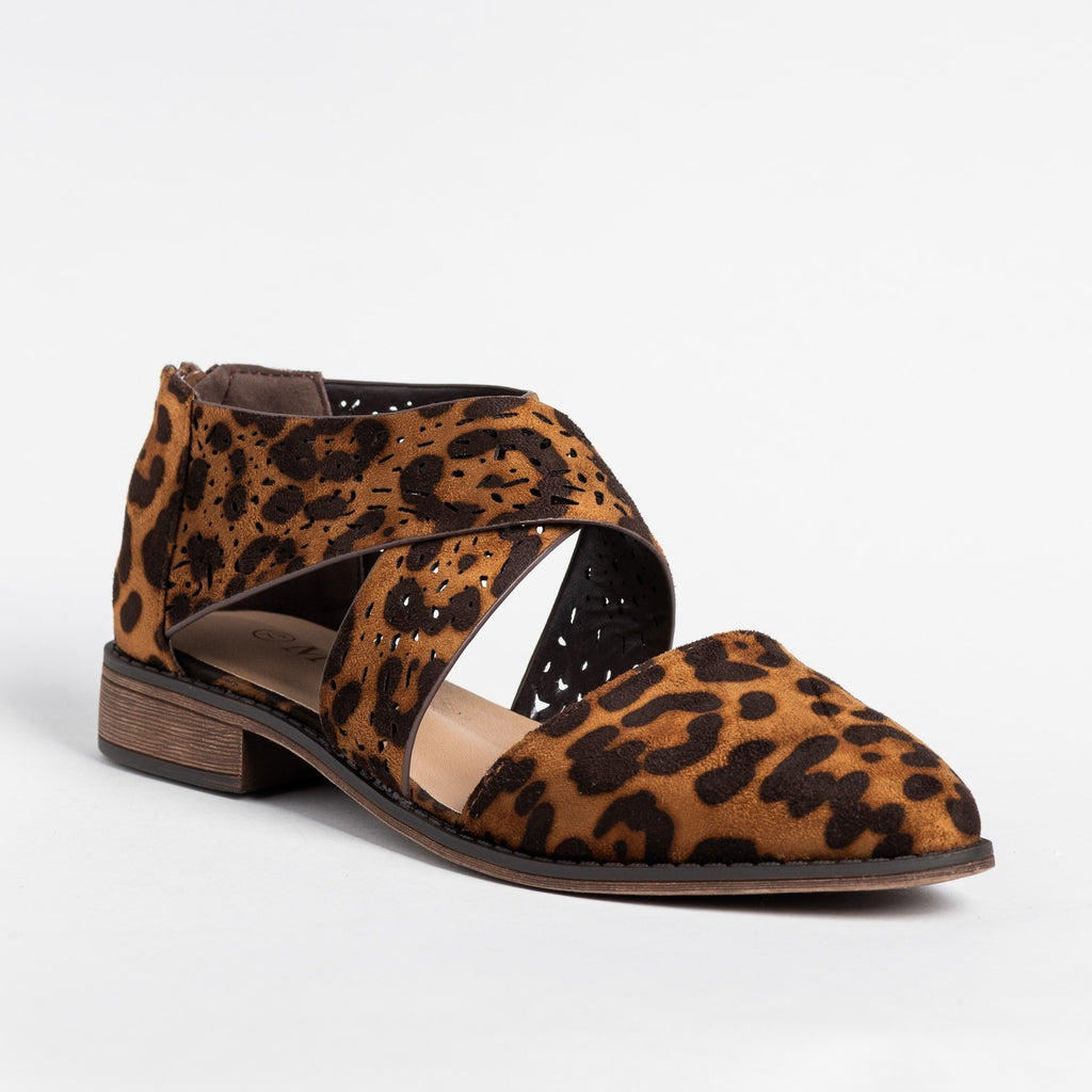 Womens Beautiful Laser Cut Criss Cross Flats - Mata - Leopard / 5