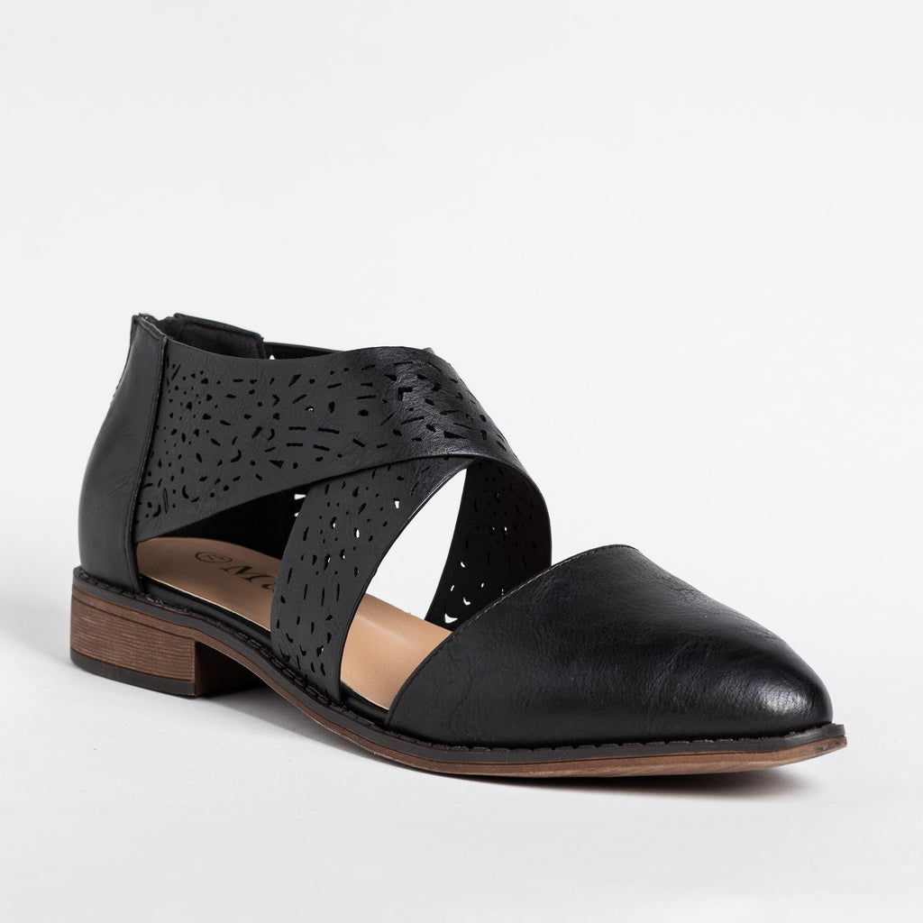 Womens Beautiful Laser Cut Criss Cross Flats - Mata - Black / 5