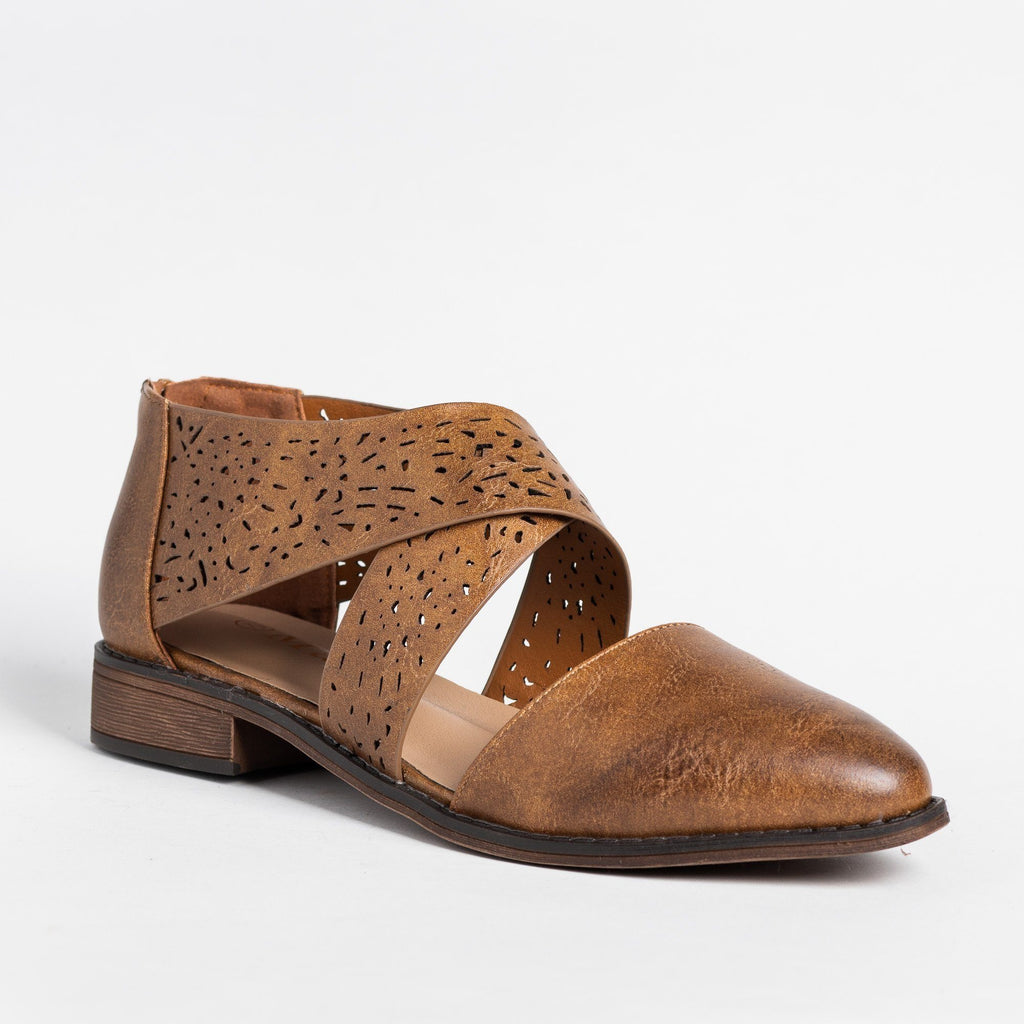 Womens Beautiful Laser Cut Criss Cross Flats - Mata - Tan / 5