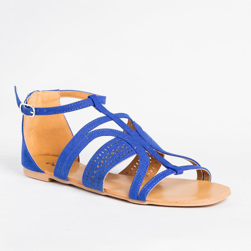 Womens Beautiful Laser Cut Fashion Sandals - Qupid Shoes - Blue / 5