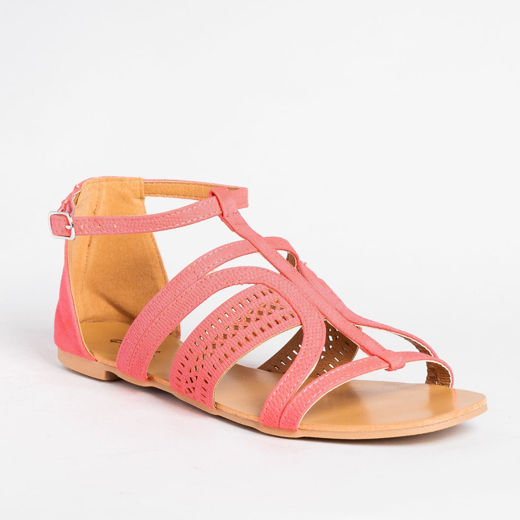 Womens Beautiful Laser Cut Fashion Sandals - Qupid Shoes - Pink / 5