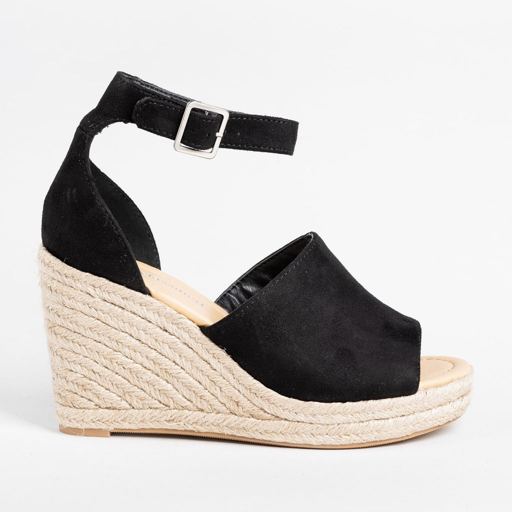 Womens Beautiful Open-Toe Espadrille Wedges - City Classified Shoes - Black / 5