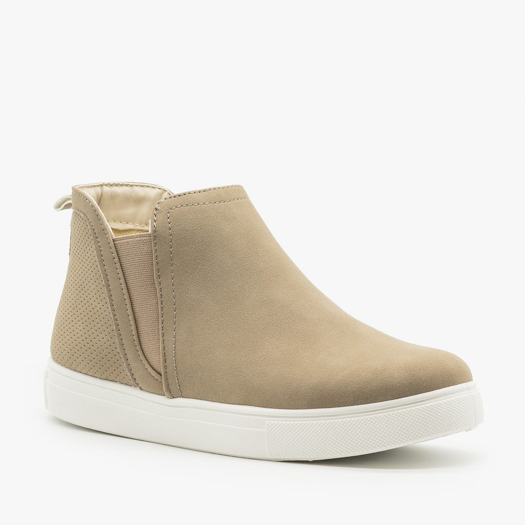 Womens Beautiful Pinhole Ankle Sneakers - Bella Marie - Stone / 5