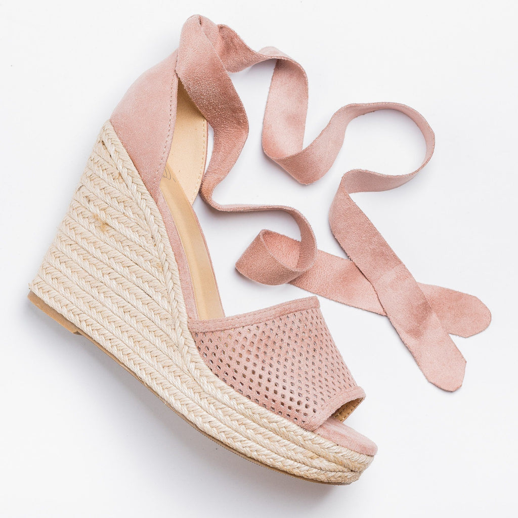 Womens Beautiful Pinhole Espadrille Wedges - Soda Shoes - Dusty Mauve / 5