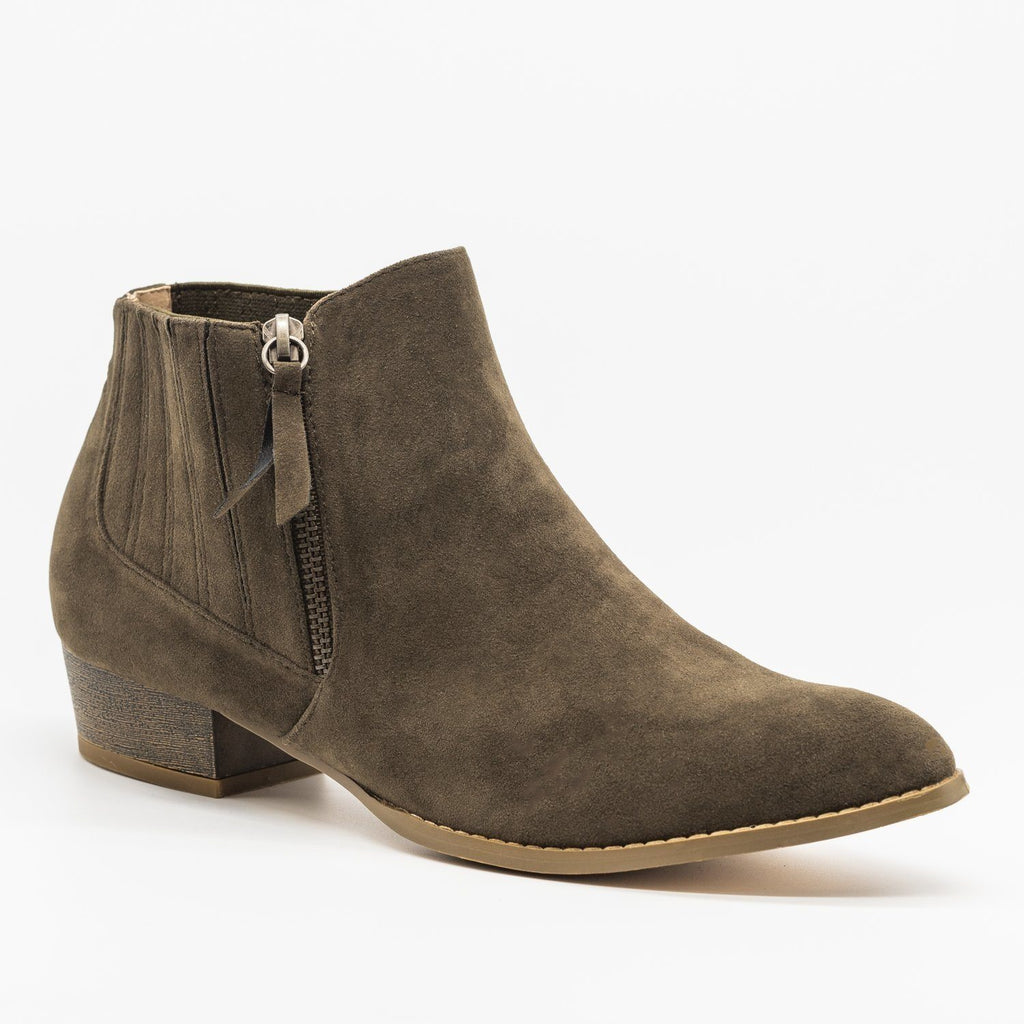 Womens Beautiful Pointed Toe Chelsea Boots - AMS Shoes - Olive / 5